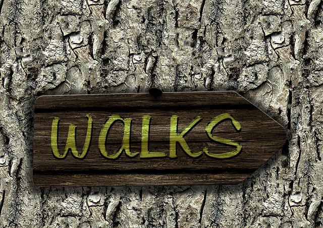 cedule na stromě vyzývající k chůzi