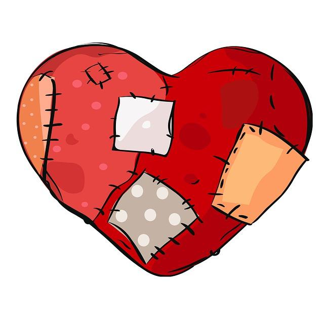 záplatované srdce plné jizev
